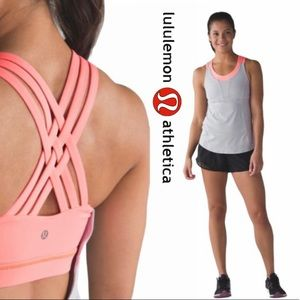 Lululemon Beat The Heat Tank -Seal Grey/Grapefruit